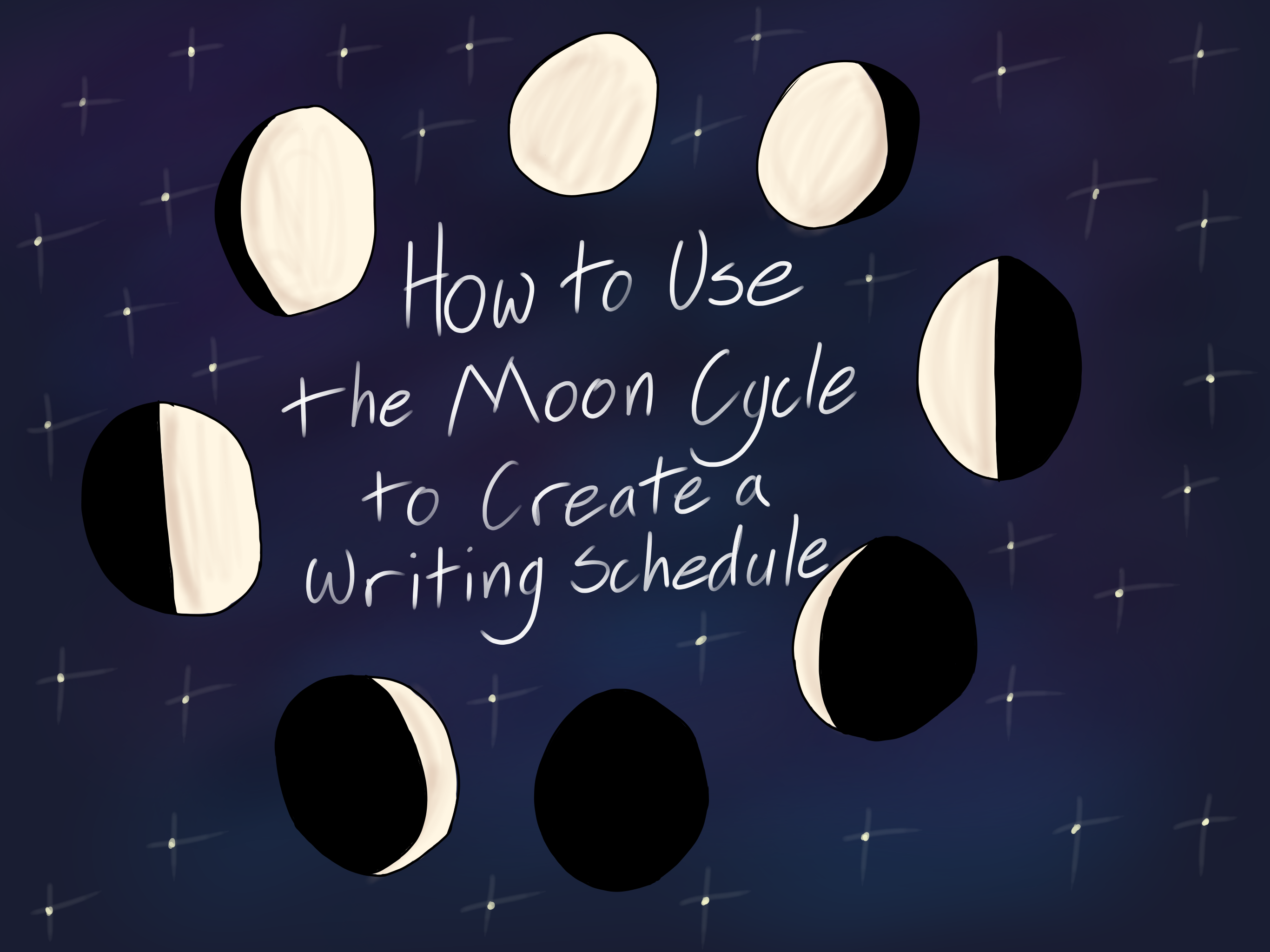 How to Use the Moon Cycle to Create a Writing Schedule (art by @peachyartist (that's me!))